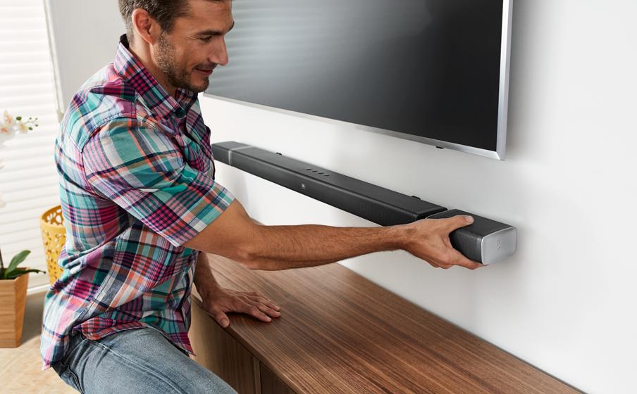 Detachable, battery-powered wireless surround speakers