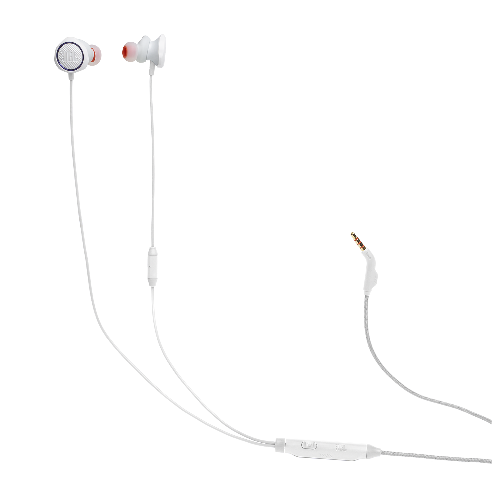 JBL Quantum 50 - White - Wired in-ear gaming headset with volume slider and mic mute - Hero