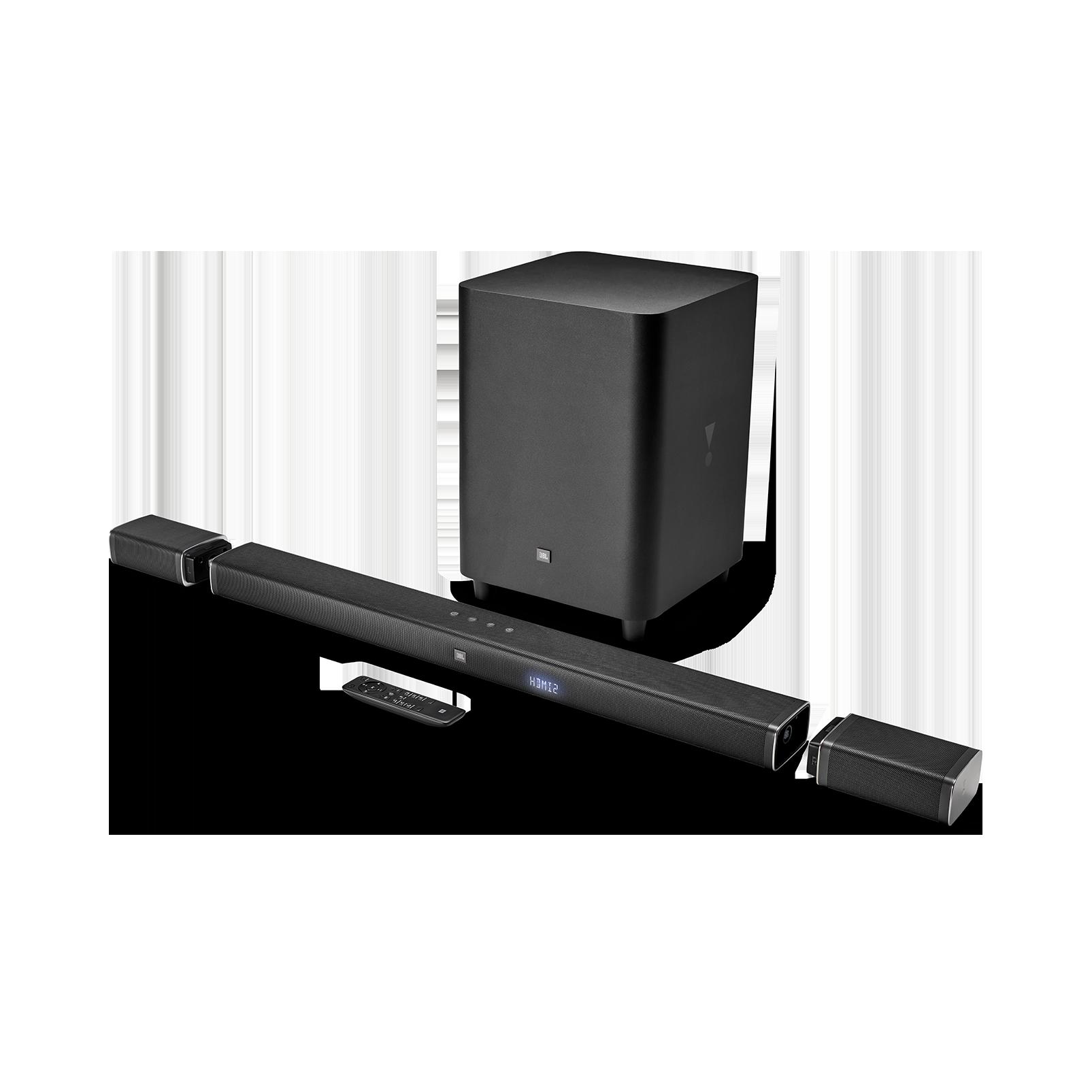JBL Bar 5.1 - črna - 5.1-kanalna 4K Ultra HD Soundbar z resničnimi brezžičnimi prostorskimi zvočniki - Hero